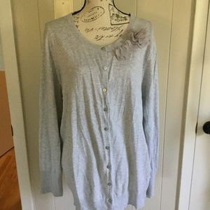 Old Navy Gray Chiffon Flower Detail Cardigan